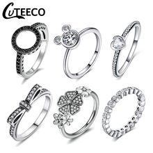 Cuteeco 2019 Hot Sale Silver Color Pan Rings For Women European Original Wedding Fashion Engagement Ring Jewelry Gift