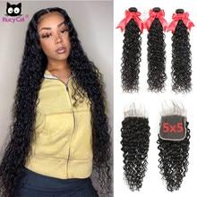Pacotes de onda de água com fechamento do laço 5x5 cabelo humano brasileiro rucycat cabelo 32 34 36 polegadas pacotes longos com fechamento