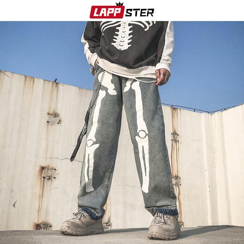 Men Skeleton Oversized Black Jeans Pants 2019 Denim Mens Streetwear Hip Hop Harem Pants High Wasit Denim Pants Overalls