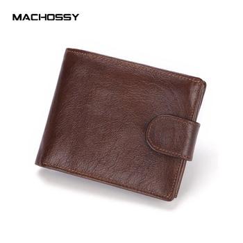 Brand Men Wallets Genuine Leather Short Coin Purse Fashion Hasp Wallet For Male Portomonee with Card Holder Photo Holder 1