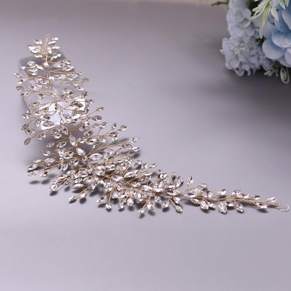 TRiXY H237-G Golden Wedding Hair Tiara  Bridal Hair Accessories Handmade Wedding Headband for Bride Rhinestone Bridal Headpieces