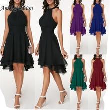 2019 Women Dresses Ladies Wedding Party Halter Black Layered Cutout Back Sleeveless Chiffon Long Dress Plus Size S-5xl Vestidos