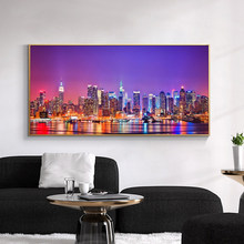 Night View of New York City Landscape Canvas Art Painting Posters and Prints Cuadros Wall Art Picture for Living Room Home Decor