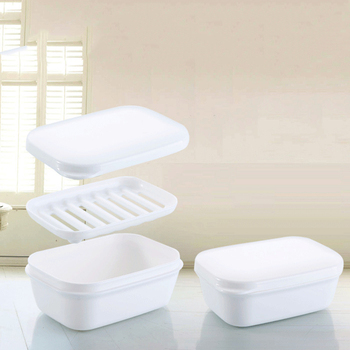 Portable Soap Dish Double Draining Soap Holder with Lid Seal Elegant Leak-proof Soap Dish Case Plastic Bathroom Products image