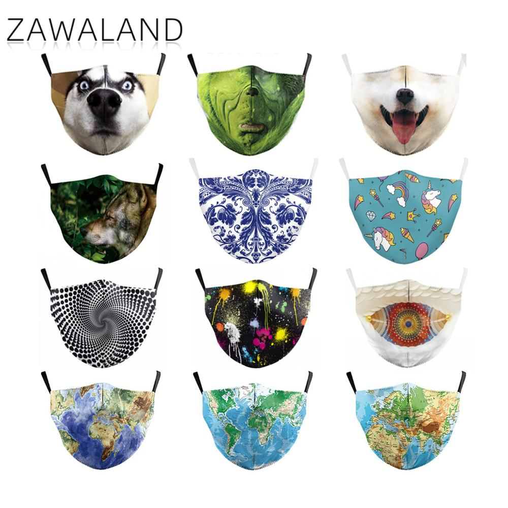 Zawaland Adult Unisex Fashion Printing Face Mask Washable Reusable Protective PM2.5 Filter Bacteria Proof Flu Mouth Masks