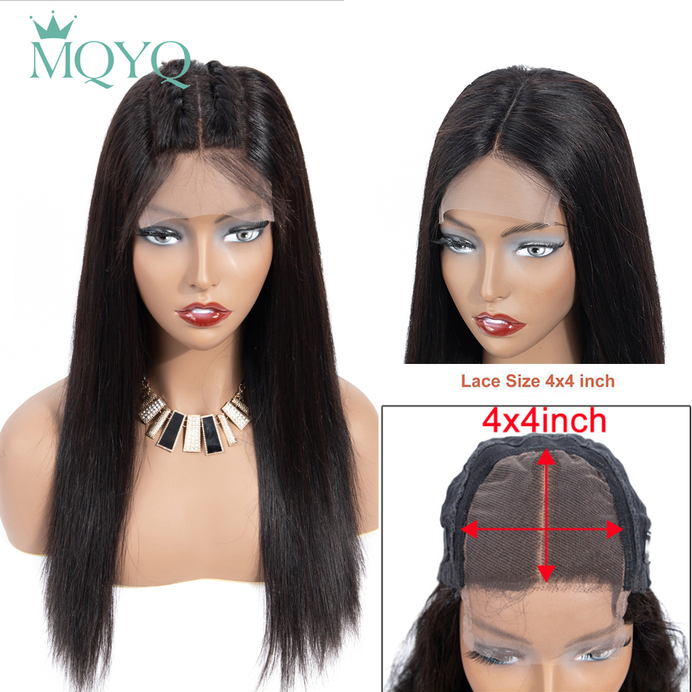 MQYQ 4*4 Lace Closure Human Hair Wigs For Black Women 2# 4# Color Wig Short Human Hair Lace Wigs Malaysia Straight Non-Remy Hair