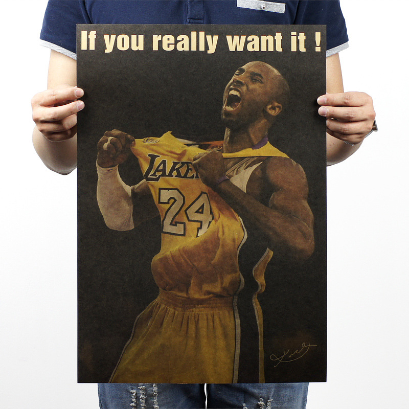 Kobe Bryant Really Want It Vintage Kraft Paper Movie Poster Map Home School Decor Wall Decals Art DIY Retro Decor Prints