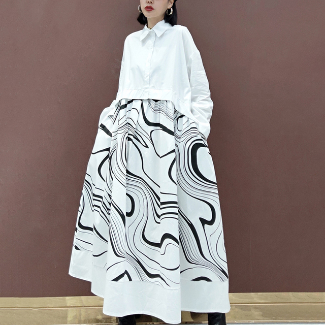 SHENGPLLAE Personality Printed Dress Women's Spring 2021 New Lapel Single Breasted Large Size Patchwork Fake Two Piece Dresses 2