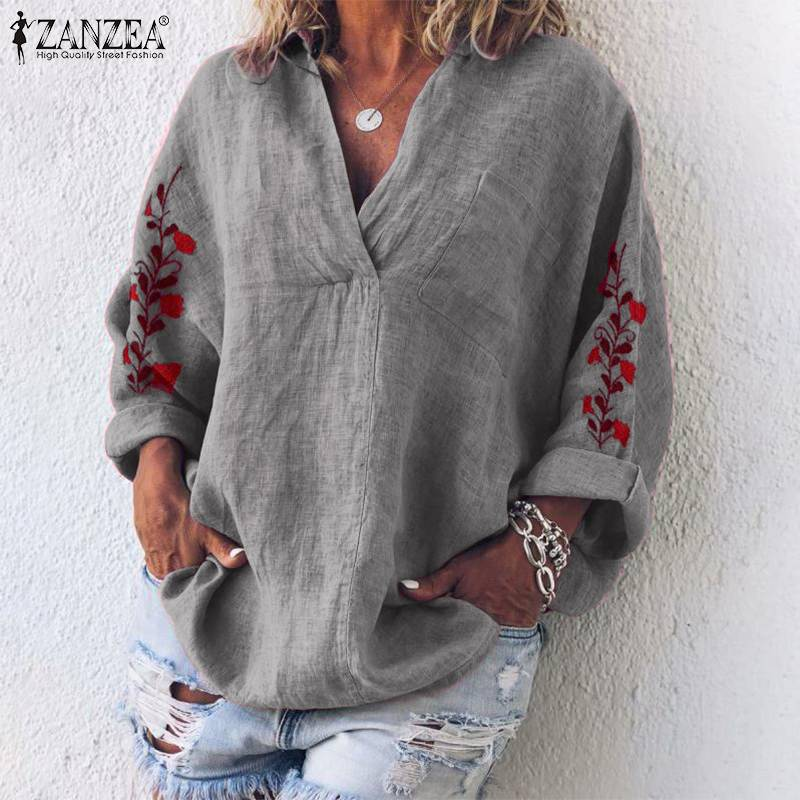 ZANZEA Autumn Cotton Linen Shirt Women V Neck Long Sleeve Blouse Floral Embroidery Tops Femme Robe Work Blusas Chemise Mujer 7