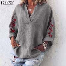 ZANZEA Herbst Baumwolle Leinen Hemd Frauen V Neck Langarm Bluse Floral Stickerei Tops Femme Robe Arbeit Blusas Chemise Mujer 7