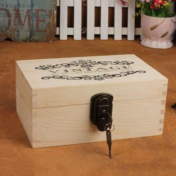 Large Wooden Box with Hinged Lid - Wood Storage