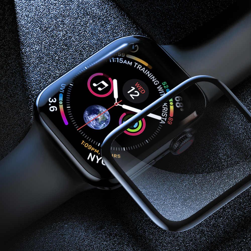 شاشة حامي الزجاج ل Apple watch 5 44 مللي متر 40 مللي متر iWatch سلسلة 4 3 2 1 42 مللي متر 38 مللي متر 3D كامل حافة فيلم Apple watch اكسسوارات 44