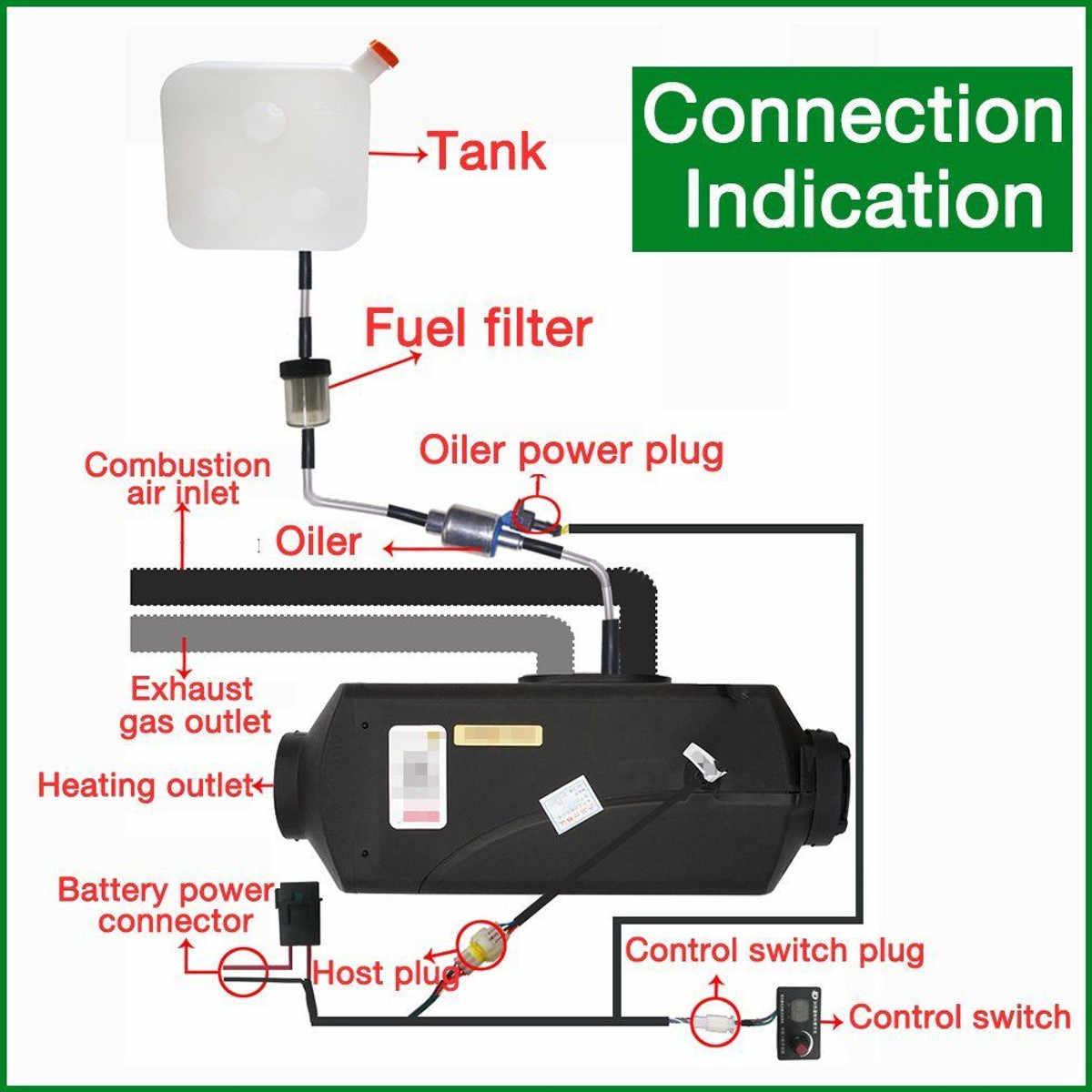 12V 2KW Mobil Mesin Diesel Parkir Udara Pemanas Mobil Pemanas LCD Remote Control Monitor Switch + untuk Truk Bus Trailer pemanas