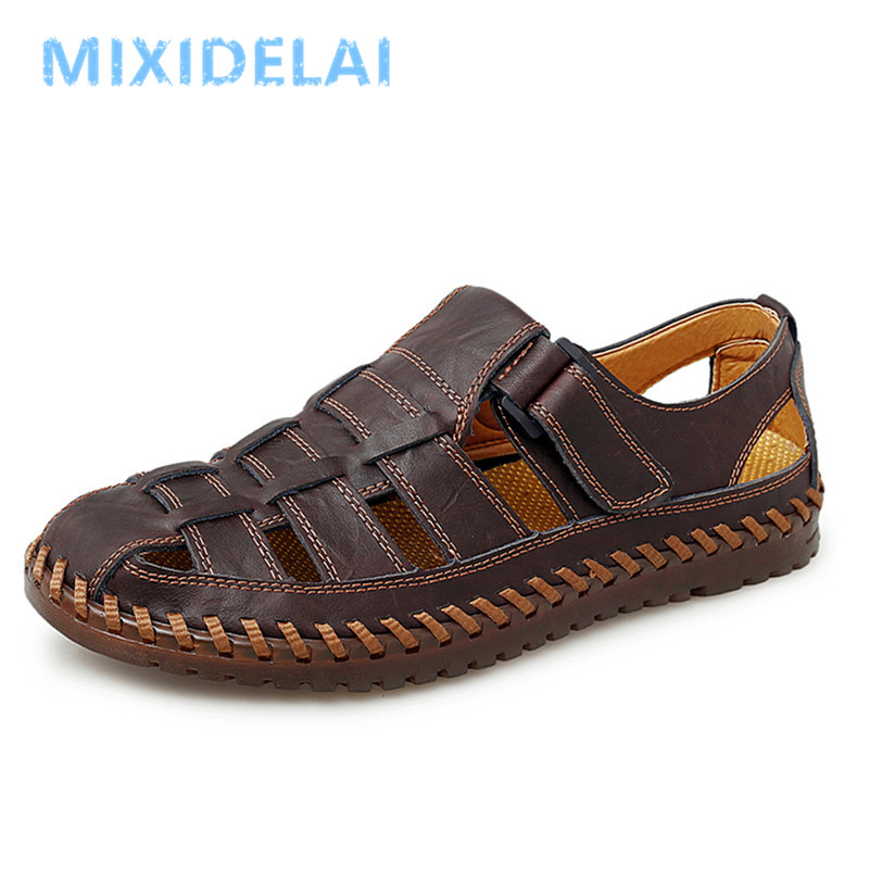 New Summer Genuine Leather Roman Men's Sandals Business Casual Shoes Outdoor Beach Wading Slippers Men's Shoes Big Size 38-48