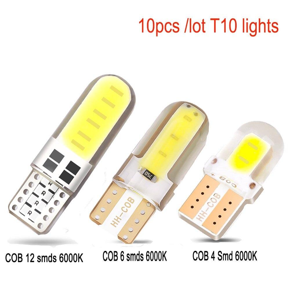 10xt10 w5w 194 carro led canbus 4/6/12 smd sílica gel cob lâmpadas 12v lâmpada branca luz de leitura cúpula luz tronco luz da placa licença