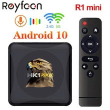 Hk1 rbox r1 mini smart tv box android 10 rockchip rk3318 4g 64gb suporte 1080p 4k mídia google play youtube hk1 caixa conjunto caixa superior