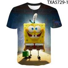 Camiseta de manga corta con estampado 3D de monstruo para hombre, camiseta informal de poliéster con esponja amarilla, Anime, talla grande, novedad de verano 2021, venta al por mayor