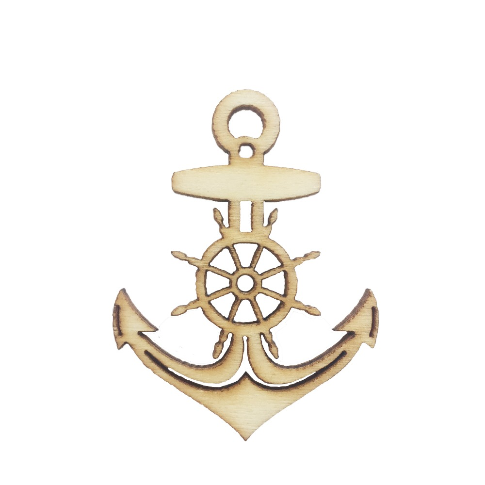20pcs Mediterranean Anchor Nautical Wood DIY Craft Scrapbook Embellishment Wooden Pendants Ornaments Decorations in Party DIY Decorations from Home Garden
