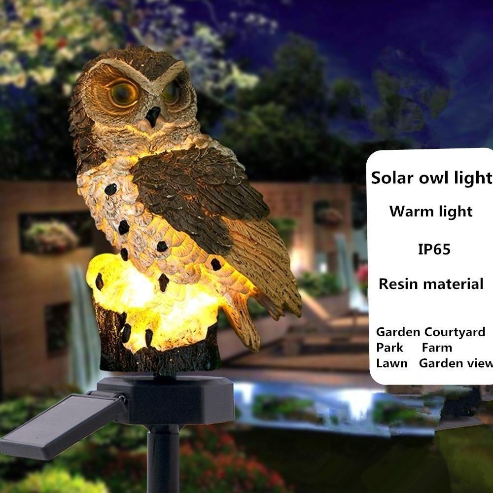 Solar Powered Garden LED Lights Owl Animal Bird Lawn Ornament Waterproof Lamp