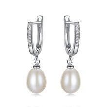 YUEYIN Silver 925 Earrings Hoop Nature Pearl Dangle for Women Vintage Jewelry Bts Korean
