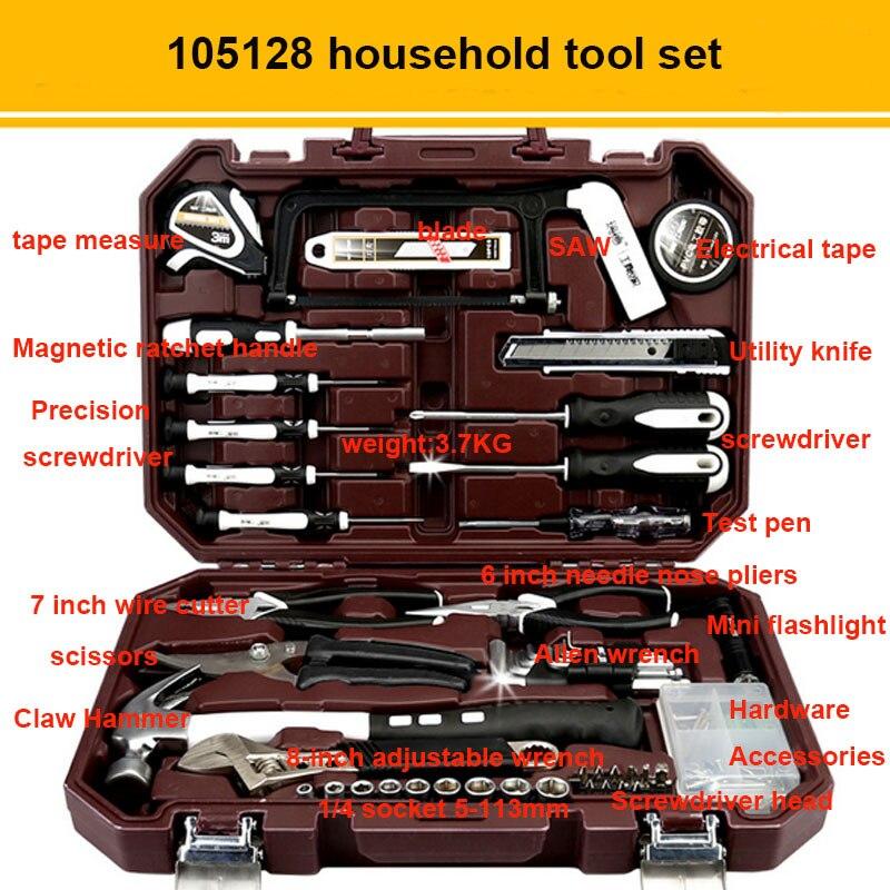 Набор ручных инструментов бытовыми ремонтный набор инструментов с Пластик ящик для инструментов чехол отвертка с гаечным ключом Инструменты для ремонта автомобилей комплект - Цвет: 105128