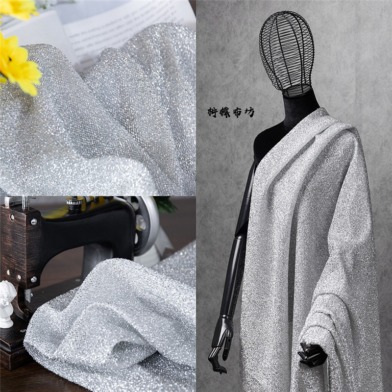 Su Fuer Silver Light Elastic Dance Costume Fabric Performance Costume Wedding Decoration Baby Clothes Fabric Suit Skirt 10-5
