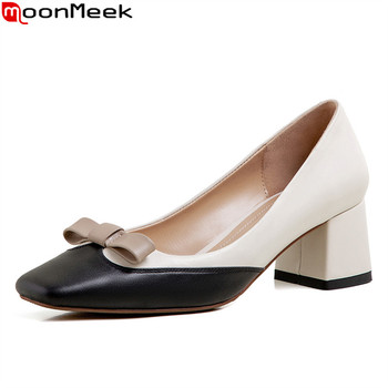 MoonMeek 2020 new arrival summer shallow women pumps genuine leather simple party shoes thick heels square toe ladies shoes