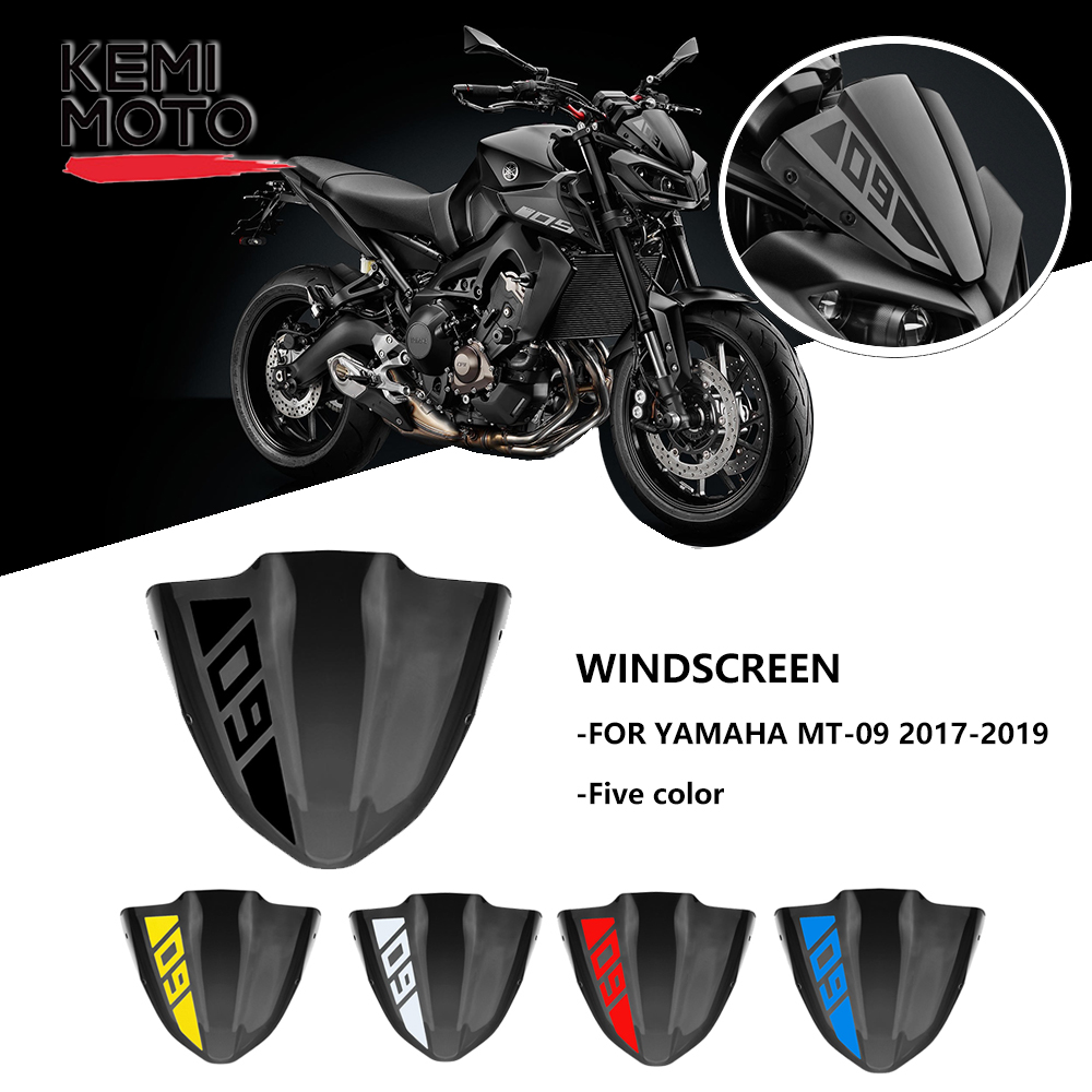 For Yamaha MT 09 MT09 Windshield Windscreen 2017 2018 2019 Motorcycle Accessories FZ 09 FZ09 Windshield Wind Screen Stickers