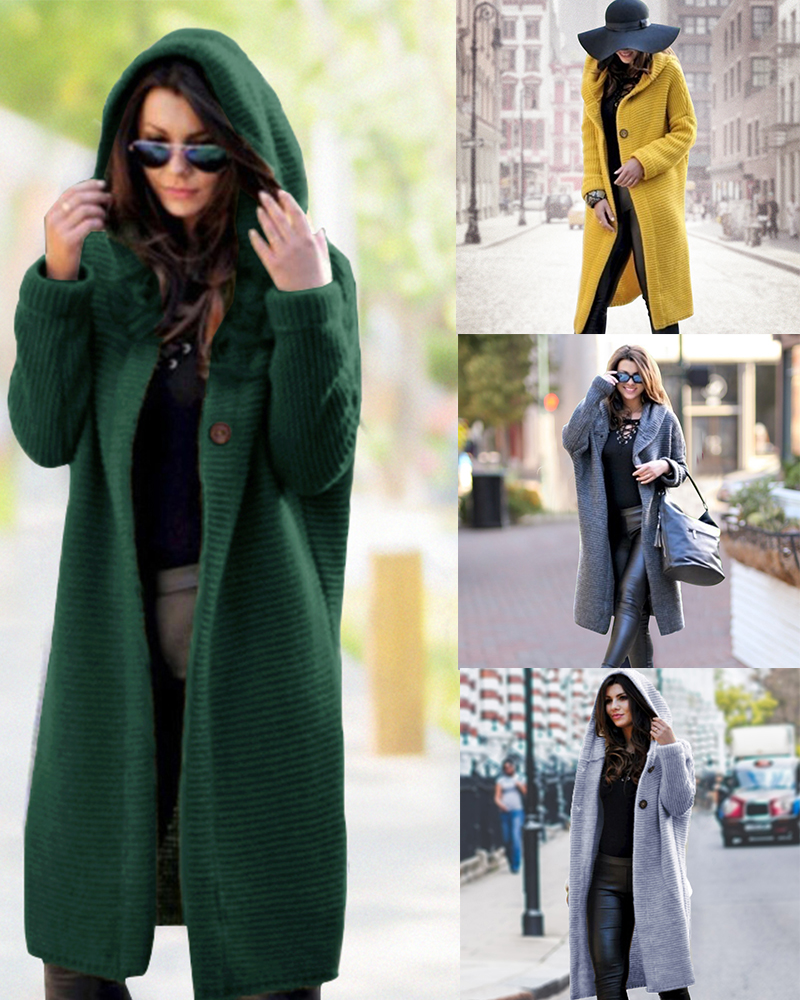 Long Cardigan Women Autumn Winter Solid Oversized Hooded Cardigans Female Keep Warm Sweater Loose Wool Knitted Coat