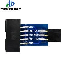 10pin para 6pin converter para padrão 10 pinos para 6 pinos adaptador placa para stk500 avrisp usbasp isp conversor de interface avr