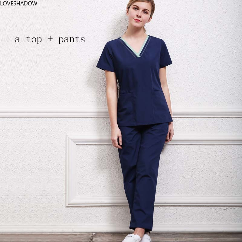 Women's Nurse Uniforms Surgical Clothing Scrub Tops Short Sleeve Cotton Color-blocking Cotton V Neck Scrub Set Hospital Doctor