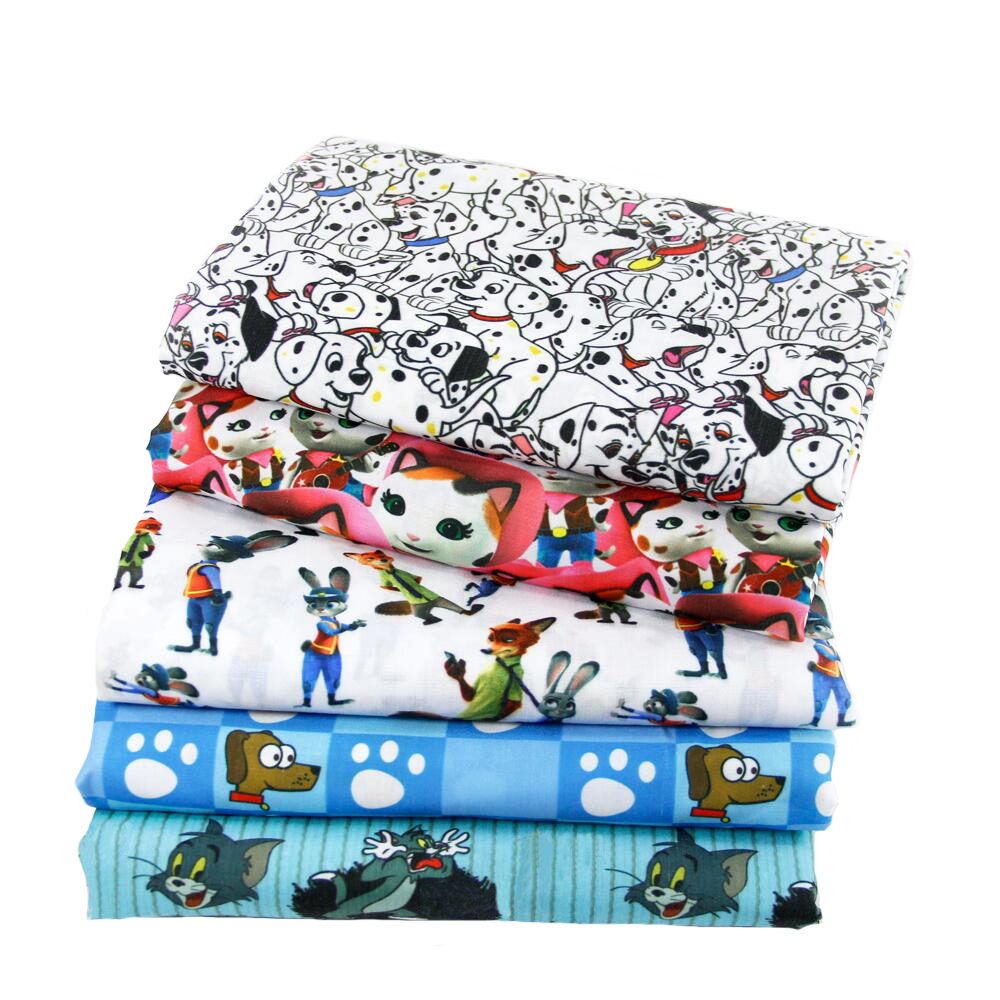 50*140cm Cartoon Fabric Animal Polyester Cotton Fabric for Tissue Kids Bedding Home Textile for Sewing Doll Curtain Decor,c413(China)