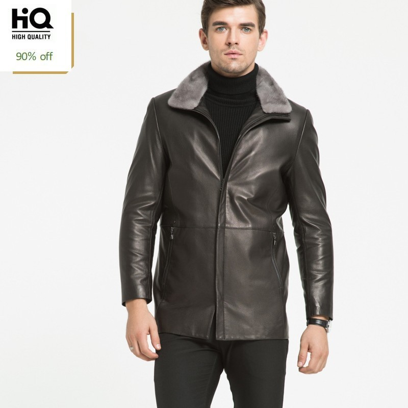 Top Quality Winter Mens Sheepskin Leather Down Jacket 100% Fur Collar Overcoat Men Warm Business Outerwear Middle-Aged Man Coat