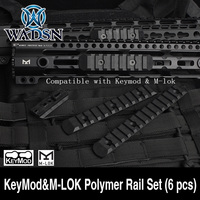WADSN Tactical KeyMod&M LOK Polymer Rail Set (6 pcs) Picatiny Rails Cover Airsoft Handguard Protection Weapon Light Accessories|Weapon Lights|   -