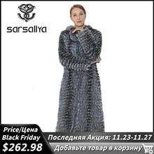 Sarsallyaロング本物のフォックスファーコート冬コート本物の銀キツネのベスト女性服ミンクコート自然キツネの毛皮のベストの女性