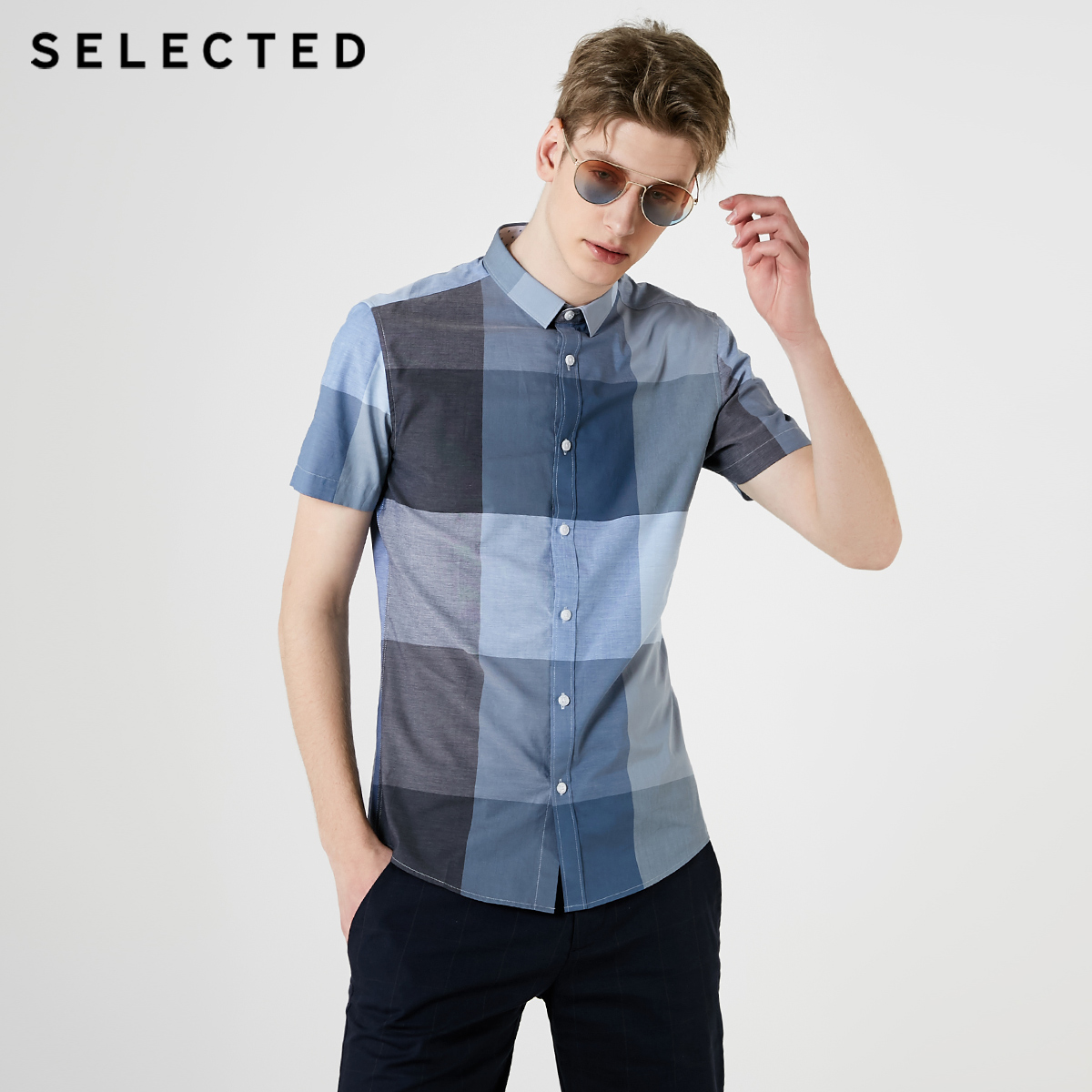 SELECTED Men's 100% Cotton Slim Fit Plaid Trend Handsome Slim Casual Short-sleeved Checked Shirt S|419204536