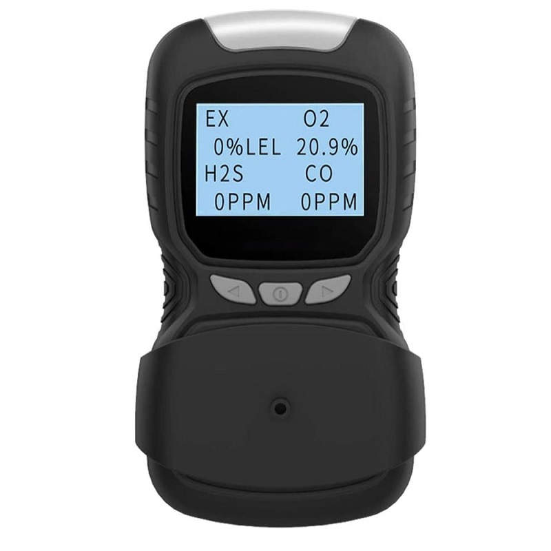 Portable Gas Detector Clip  4 Gas  Monitor Meter Tester Analyzer Rechargeable LCD Display Sound EX H2S CO O2 Tester