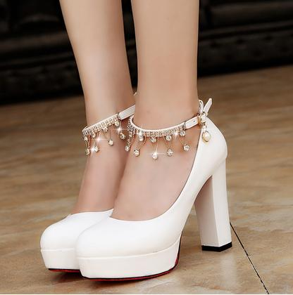 Women Bridal Shoes Super High <font><b>Heels</b></font> Pumps String Bead Ankle Strap Platform Pump Dress Shoes Wedding Shoes zapatos mujer 896 image
