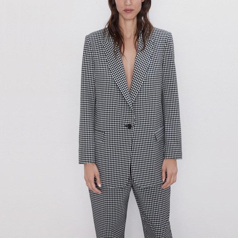 Autumn Women's Suit Casual Plaid Single Button Suit