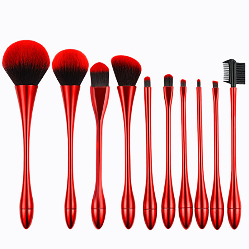 10pcs cosmetic brush Rose gold/ Red /Ochre color makeup brushes set face make up tools