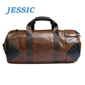 JESSIC Fashion Quality Travel Bag Women Black PU Leather Gym Bags Hand Luggage Travel Bag janeke black quilted travel bag medium
