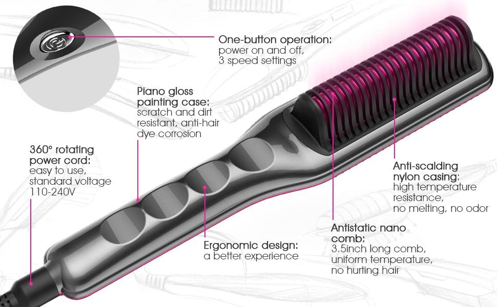 hair straightener brush comb