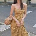 Платье женское на бретельках, пикантное Длинное Элегантное пляжное платье желтого цвета, без рукавов, модная одежда, лето 2021