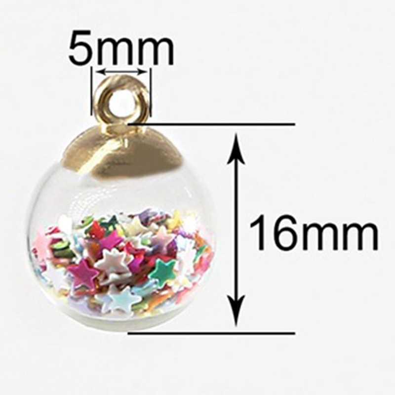 10 шт./упак. 15 мм Красочный прозрачный стеклянный шар подвески в виде звезд для украшения для волос аксессуары серьги амулеты