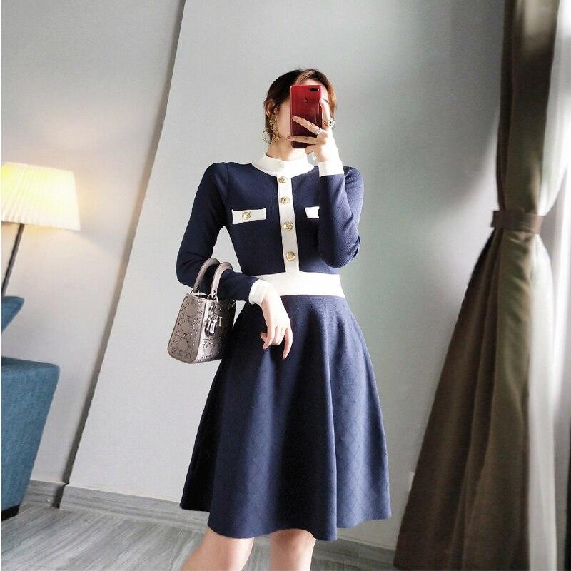 Élégant robe pull 2019 automne hiver col montant simple boutonnage à manches longues robe a-ligne robe tricotée élégant P-274 robes - 2