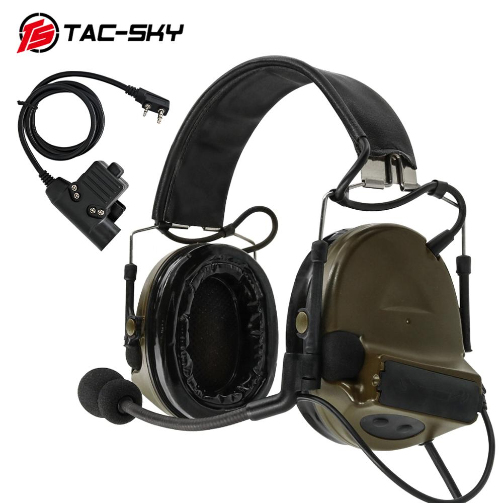TAC-SKY COMTAC II Silicone Earmuffs Hearing Noise Reduction Pickup Military Tactical Headset FG+ U94 Kenwood Plug PTT