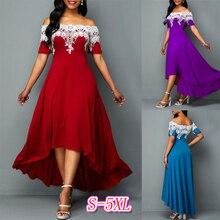 Sexy Off The Shoulder Women Irregular Maxi Long Dress Women Plus Size Short Sleeve Lace Decoration Patchwork Elegant Party Dress
