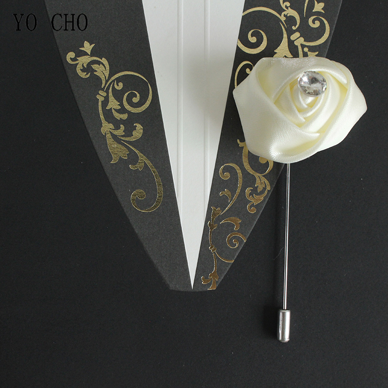 YO CHO White Pink Boutonniere Corsage Wedding Buttonhole Silk Flowers Groom Boutonniere Man Wedding Marriage Corsage Pins Brooch
