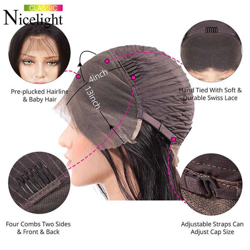 Nicelight peruca de cabelo encaracolado, cabelo curto, brasileiro remy, frontal de renda, 100%, cabelo humano mulheres negras