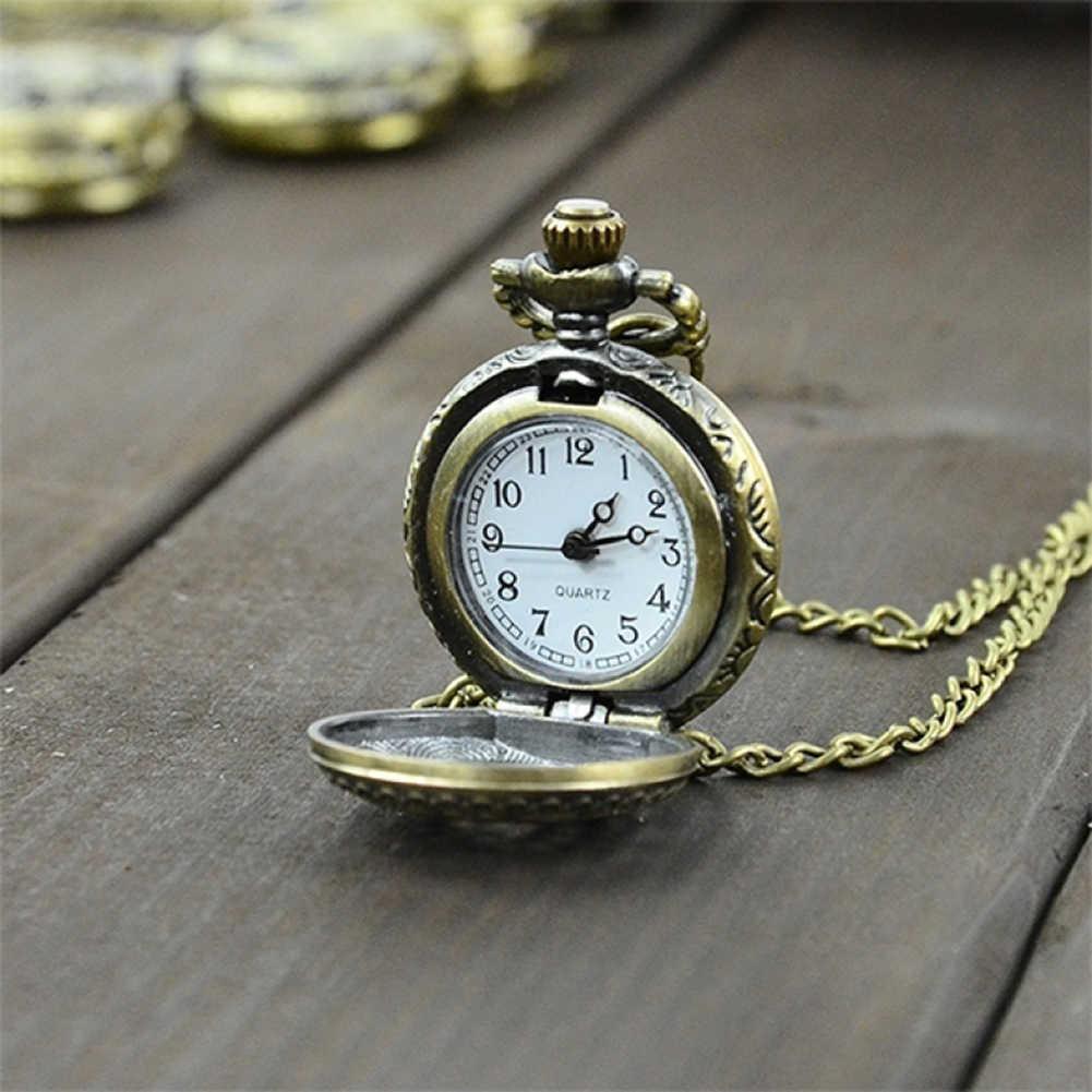 腕時計ユニセックス腕時計レトロビンテージス時計クォーツネックレス彫刻ペンダントチェーン時計時計 New Fob ヴィンテージブロンズ Stea